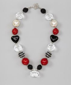 Take a look at this Red & Black Heart Gem Necklace by Under The Hooded Towels on #zulily today!