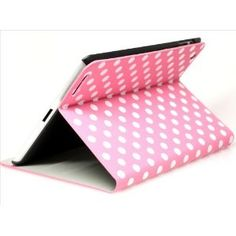 Pink and White Polka Dot Pattern PU Leather Case For iPad 2