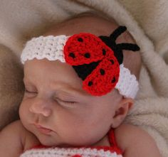 Handmade Crochet Baby/Toddler Lady Bug Headband *You Choose Size* in Clothing, Shoes & Accessories, Baby & Toddler Clothing, Baby Accessories Crochet Baby Hats, Crochet For Kids, Baby Knitting, Knit Crochet, Crochet Headbands, Flower Headbands, Crochet Crafts, Crochet Projects, Bandeau Crochet