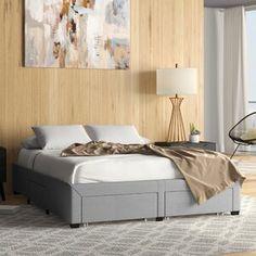 Winston Porter Sagamore Platform Bed | Wayfair Storage Drawers, Storage Spaces, Upholstered Platform Bed, Under Bed Storage, Panel Bed, Modern Spaces, Bed Sizes, Bed Frame, Bedroom Furniture