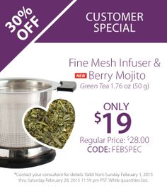 February Customer Special Order online at: www.mysteepedtea.com/steepedteawithangela
