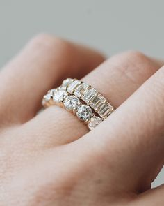 These chunky diamond wedding bands are to die for! With or without your engagement ring, the bands will make you sparkle.