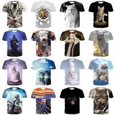 c23d73d1bba20 Funny Cat Kitty 3D Print Women Men s Casual T Shirt Short Sleeve Graphic Tee  Tops Mens