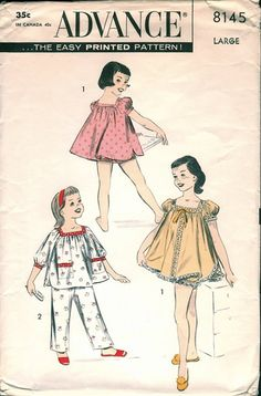Darling Vintage Advance Girls Babydoll Pajama and Shortie Set Sewing Pattern Sz Large Sewing Patterns Girls, Vintage Patterns, Vintage Street Fashion, Mom And Baby, Baby Kids, Fashion History, Vintage Children, Smocking, Baby Dolls