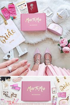 Miss To Mrs Bridal Subscription Box - Theme 2 - Ultimate Bridal Swag (Feb Thanks to real bride Anda. Bride Box Gift, Bride To Be Box, Bride Box Ideas, Cute Wedding Ideas, Wedding Trends, Wedding Designs, Dream Wedding, Wedding Day, Wedding Bride