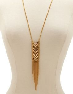 CHEVRON PANEL FRINGE NECKLACE by Charlotte Russe- $6.00