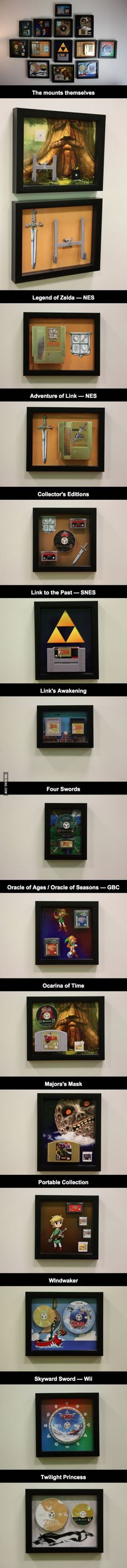 The entire Zelda series, mounted on the wall using custom 3d printed cartridge mounts