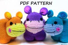 Crochet Amigurumi Pattern, DIY PDF Instructions, Instant Download Hippo Tutorial