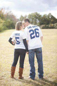 Save-the-Date: Football Uniforms... Mine would be green and Ryan's blue. Love it :)