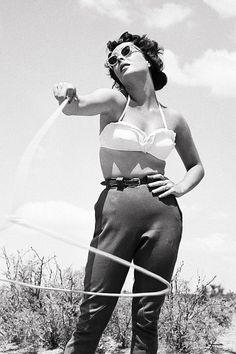Elizabeth Taylor on the set of Giant, 1955.