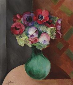 Anemones Artwork By Moise Kisling Oil Painting & Art Prints On Canvas For Sale Local Art Galleries, Moise, Impressionist Art, Bunch Of Flowers, Oil Painting Reproductions, Global Art, Custom Art, Canvas Art Prints, Art Day