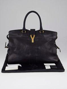 Authentic Yves Saint Laurent Black Sheepskin Leather Large Cabas ChYc Bag at Yoogi's Closet. Yves Saint Laurent Bags, City Bag, Retail Price, Leather Handle, Saints, Essentials, Hardware, Closure, Handbags