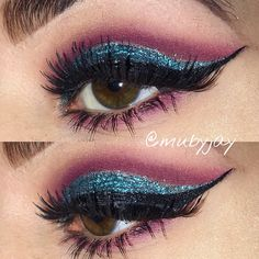 Blue and pink cut crease #cutcrease #makeup #browneyes #blue #pink