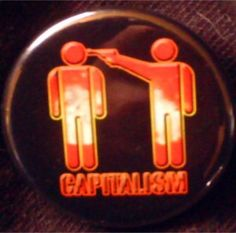 "ATOMIC CAPITALISM pinback button badge 1.25"" $1.50 plus shipping!"