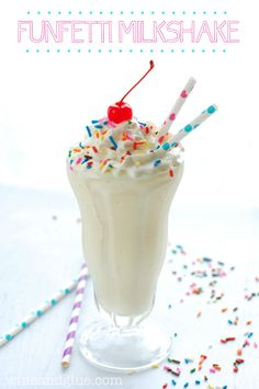 Funfetti Milkshake | www.wineandglue.com | What do you get when you mix a milkshake and cake??  Heaven.