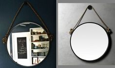 DIY Rope Mirror: A Restoration Hardware Inspired IKEA Hack. This with a leather belt instead.
