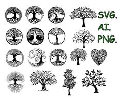 SVG trees, vector files, files for laser engraving, laser engraving, engraving Tribal Tattoos For Men, Tattoos For Guys, Book Stairs, Laser Engraving, Metal Art, Hand Lettering, Family Background, Tattoo Designs, Scenery