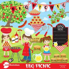 80% OFF BBQ clipartPicnic clipart Barbeque by AMBillustrations