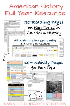 Teach #AmericanHistory & #USHistory with this interactive Google Drive resource. Over 300 pages, this middle school activity set uses comparison, perspective, timelines, mapping, primary source analysis, writing prompts, & lesson extensions to reinforce student Social Studies skills. Set includes 25 readingsfrom Exploration & the Industrial Revolution, WWI, WWII, to Age of Terrorism. Geared at 5th, 6th, 7th, and 8th grades, this full year plan makes teaching virtually easy! #historylesson
