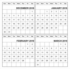 Free January February March 2019 Calendar Printable Template Pdf A4