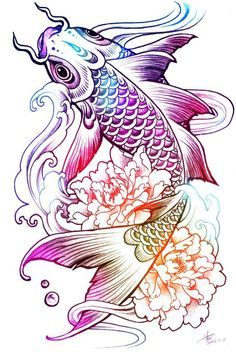 Koi tattoos are the best, the colour in this is lovely! Koi Fish Drawing, Koi Fish Tattoo, Fish Drawings, Art Drawings, Carp Tattoo, Kunst Tattoos, Body Art Tattoos, Sleeve Tattoos, Tatoos