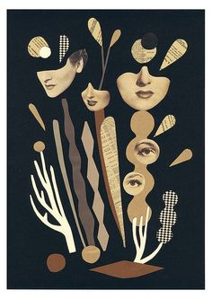"""Mathilde Aubier - """"Plantes"""" - Original Collage with papers and scissors. Collages, Art And Illustration, Illustrations, Photomontage, Geometric Patterns, Wort Collage, Expo Paris, Collage Foto, Art Brut"""