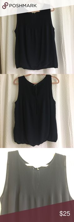 MAX STUDIO sleeveless blouse Navy blue MAX STUDIO sleeveless blose, tiny pleats on upper front and back, NEW without tags, no defects. Max Studio Tops Blouses