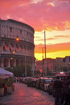Colosseum, Rome, Italy. Words cannot describe turning the street corner and seeing the Colosseum. Overwhelming!  I remember that feeling well - then sitting across the street having a glass of wine and hardly believing we were really there.