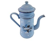 Cafetiere emaillée art deco bleue vintage shabby chic decor de