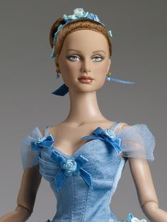 $124.99 Blue Bell Outfit - Blue bodice with ribbon and flower decoration and an attached embroidered lace and tulle ballet tutu with attached blue panties - Tonner Ballet   Tonner Doll Company