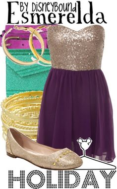 Disney Bound: Esmeralda from Disney's Hunchback of Notre Dame (Holiday Outfit) Disney Inspired Fashion, Disney Fashion, Character Inspired Outfits, Disney Bound Outfits, Themed Outfits, Disneybound, Disney Style, Polyvore, Cute Outfits