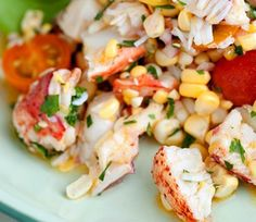 corn, tomato and lobster salad  In-season corn is so delicious that you don't need to bother cooking it. Simply toss the kernels with vinaigrette, tiny heirloom tomatoes and steamed lobster for a festive side or main dish salad.  Visit the Recipe Finder for the Corn, Tomato, and Lobster Salad recipe.      Read More http://www.ivillage.com/20-festive-july-4th-recipes/3-b-51678#ixzz1zVeNax76