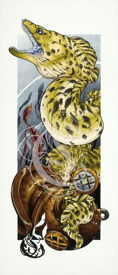 "Image of 12 1/2""x28 1/3"" Moray Eel Fine Art Print"