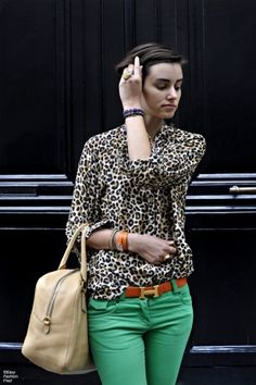 LOVE this outfit. Leopard & green skinny jeans. That Hermes belt is to die for! by sherrie