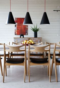 white + wood dining #pendant lights #danish style