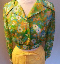 Sheer Silk Chiffon Floral Cropped Blouse by GrandmasGypsyWagon