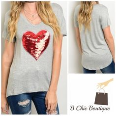 Gray Heart Sequin Top super soft! Gray tee with a red sequin heart. Can be paired with absolutely anything! Made of rayon/ spandex blend. PRICE FIRM - NO TRADES Bchic Tops Tees - Short Sleeve
