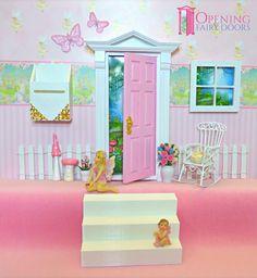 Pink Opening Fairy Door plus accessories. Australian Made Opening Fairy Doors, Fairy Door Accessories, Diy Arts And Crafts, Beautiful Hands, Fairies, Pink, Handmade, Decor, Faeries