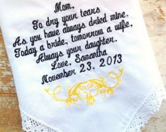 Embroidered Wedding Handkerchiefs and Gifts by HeirloomWeddings August Wedding, Hawaii Wedding, Spring Wedding, Mother In Law Gifts, Mother Of The Bride, Gifts For Mom, Bride Gifts, Wedding Gifts, Wedding Ideas
