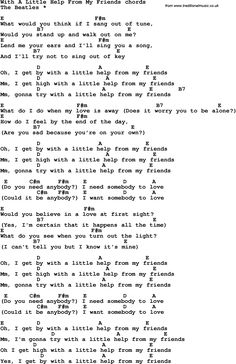 Song lyrics with guitar chords for With A Little Help From My Friends Guitar Chords And Lyrics, Guitar Chords For Songs, Guitar Sheet Music, Beatles Songs, Ukulele Songs, Songs To Sing, Piano Music, Guitar Lessons, Music Lyrics