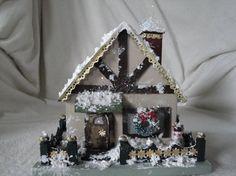 Wooden Trussel Putz HouseMiniature Christmas House by Putzhouse, $40.00