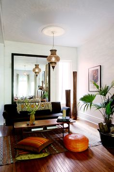 Like this eclectic mix of modern, mid-century and world furnishings.