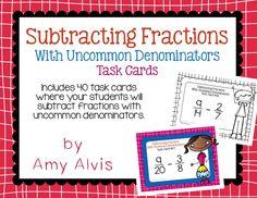 Fraction task cards subtracting fractions with unlike denominators. Education Quotes For Teachers, Quotes For Students, Math Fractions, Kindergarten Activities, Task Cards, Percents, Pre K, Preschool Activities