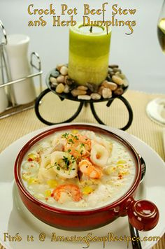 Shrimp, scallops, crab, calamari, and clams are showcased in this lovely, creamy seafood chowder recipe. This recipe includes garlic, cream cheese and parsley too, for a phenomenal result.
