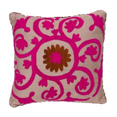Lilac & Hot Pink Suzani Vintage Pillow