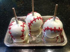 Baseball caramel and white chocolate apple   River Forest Chocolates, River Forest, Illinois