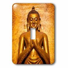 3dRose Myanmar, Bagan. Buddha Statue, Ananda Temple, teak in gold leaf., Single Toggle Switch