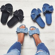 Wish | Women Bow Sandals Fashion Casual Slippers Sandals Beach Shoes