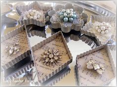 Christmas decor- ornaments made from vintage/antique cookie cutters & brooches