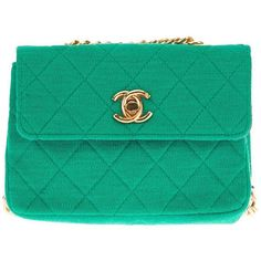 Chanel Vintage Quilted Fabric Shoulder Bag ($1,450) ❤ liked on Polyvore featuring bags, handbags, shoulder bags, carteras, clutches, purses, green shoulder bag, quilted handbags, chanel purses and green purse